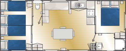 Location de mobil-home Corail 3 chambres à Guérande : plan