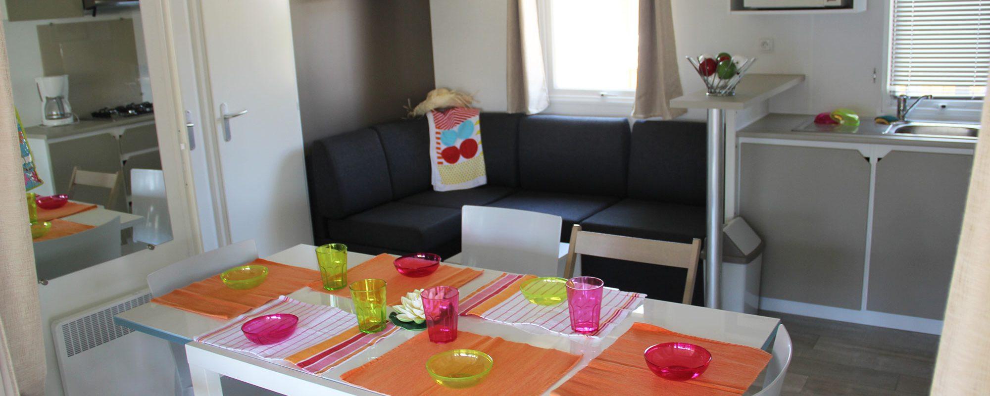 cuisine du mobilhome cordelia en vente camping à proximité de Guérande