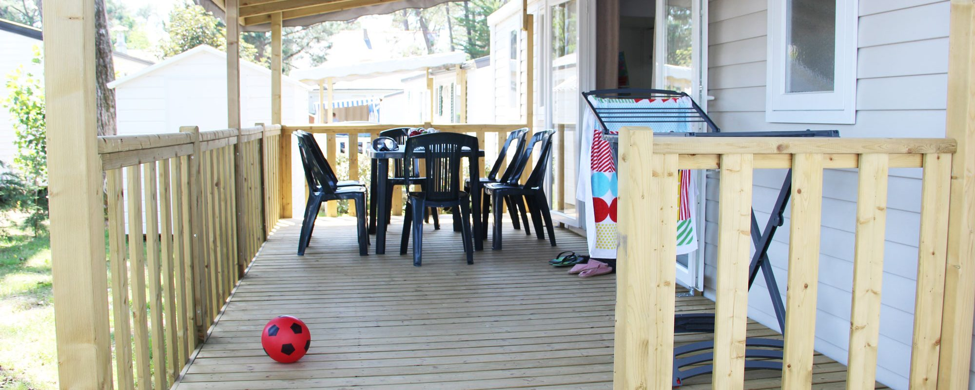 terrasse du mobilhome cordelia en vente camping à proximité de Guérande