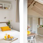 Location de mobilhome loggia bay au camping en Loire Atlantique : chambre/cuisine