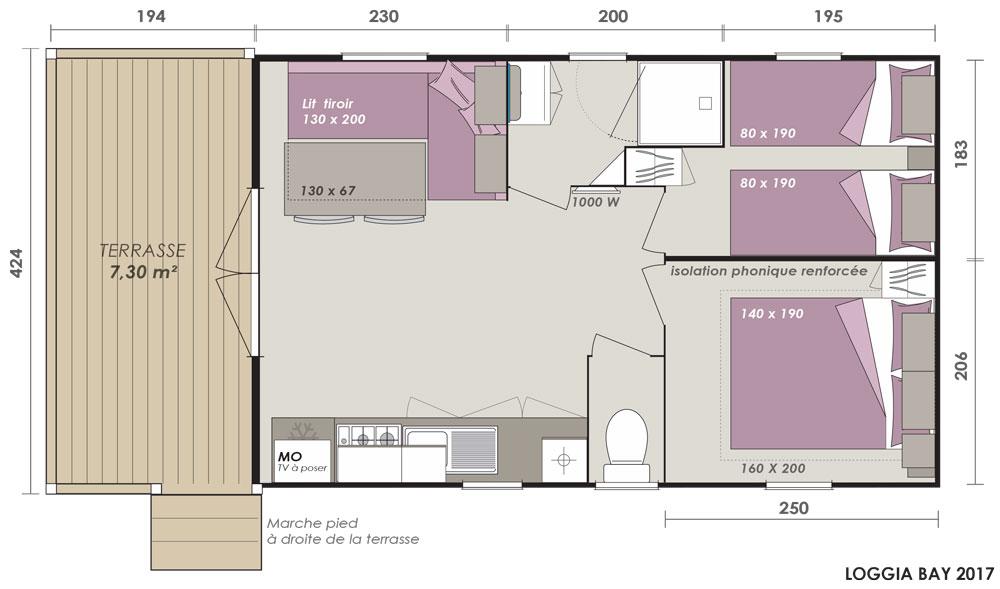 Location de mobilhome loggia bay au camping en Loire Atlantique : plan