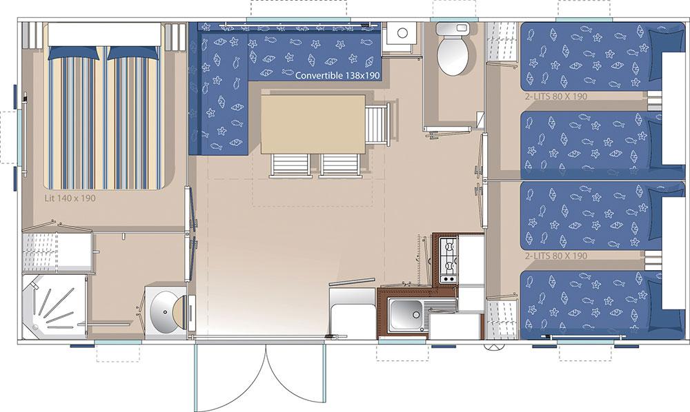 Location de mobil-home Baliste 3 chambres à Guérande : plan